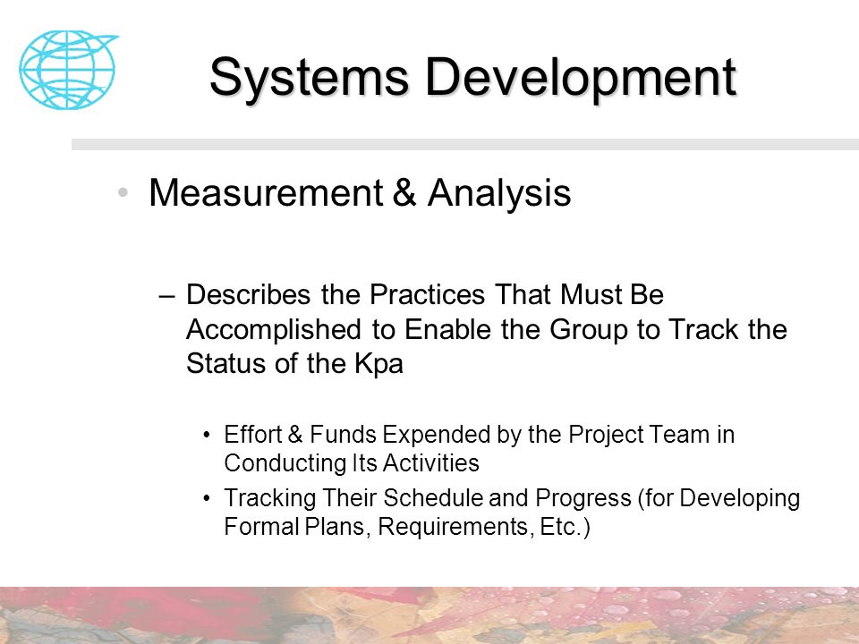 Systems Development Measurement & Analysis