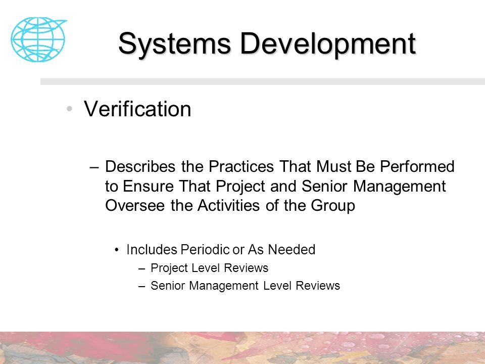 Systems Development Verification