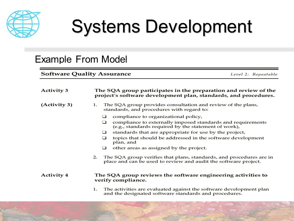 Systems Development Example From Model