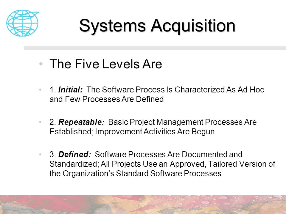 Systems Acquisition The Five Levels Are