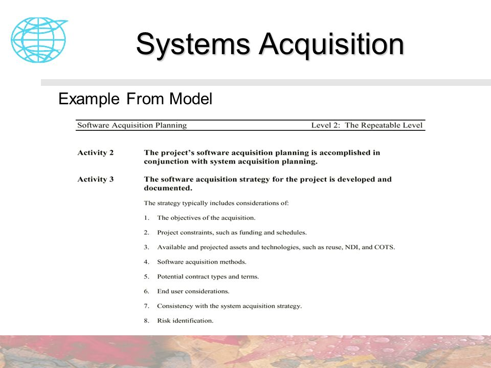 Systems Acquisition Example From Model