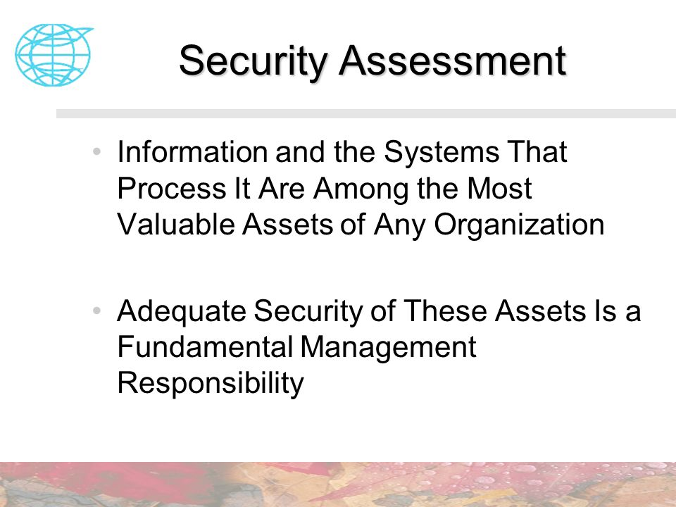 Security Assessment Information and the Systems That Process It Are Among the Most Valuable Assets of Any Organization.