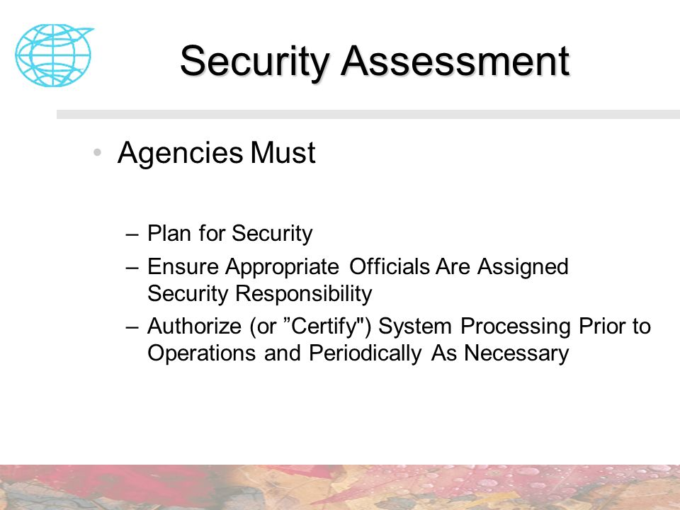 Security Assessment Agencies Must Plan for Security