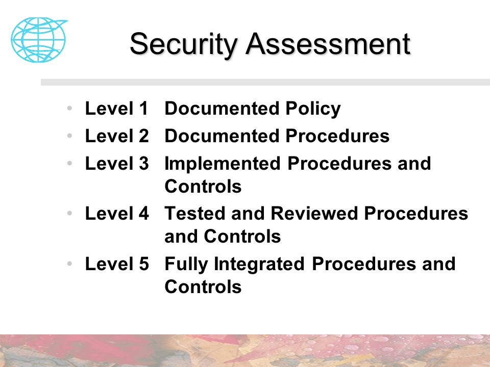 Security Assessment Level 1 Documented Policy