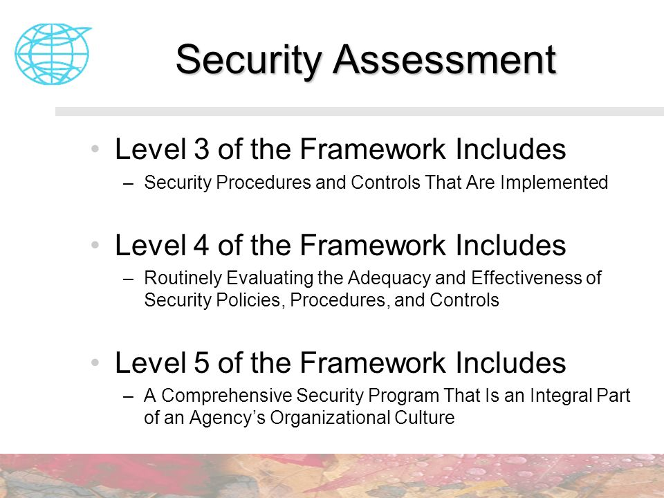 Security Assessment Level 3 of the Framework Includes