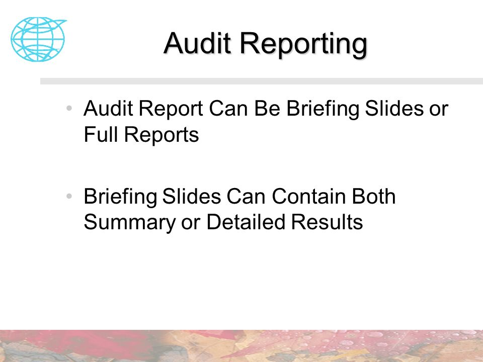 Audit Reporting Audit Report Can Be Briefing Slides or Full Reports