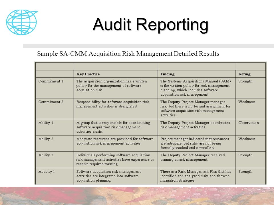 Audit Reporting Sample SA-CMM Acquisition Risk Management Detailed Results