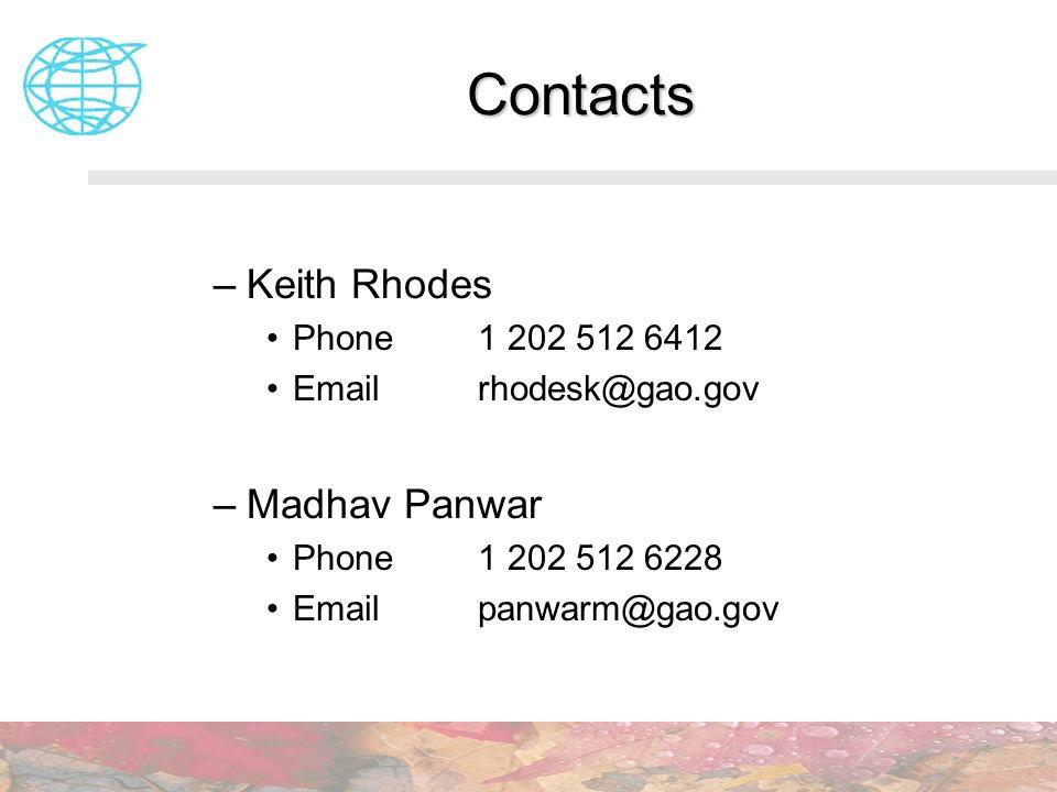 Contacts Keith Rhodes Madhav Panwar Phone 1 202 512 6412