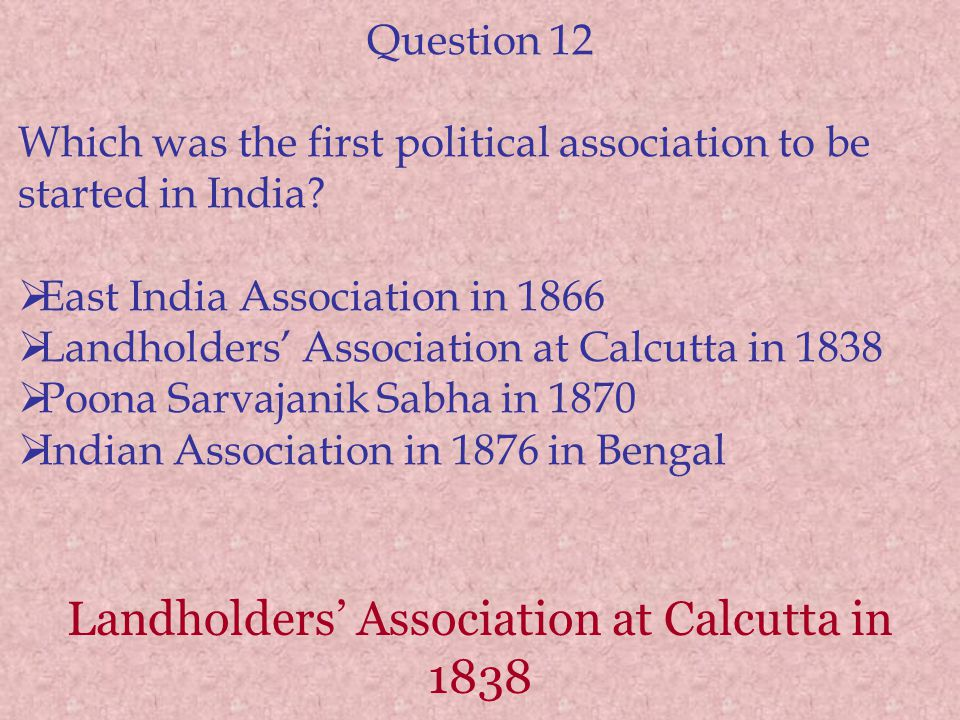 Landholders' Association at Calcutta in 1838