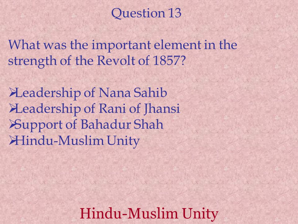 Hindu-Muslim Unity Question 13