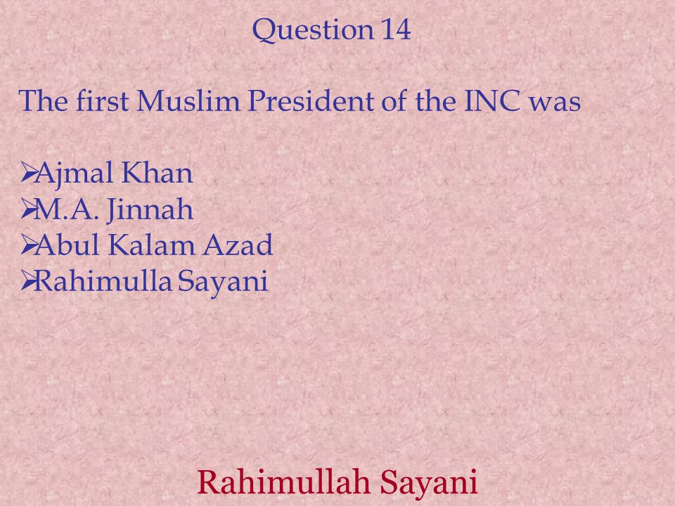 Rahimullah Sayani Question 14