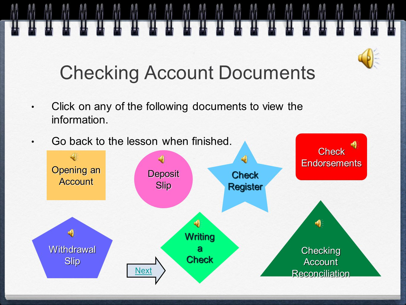 Checking Account Documents