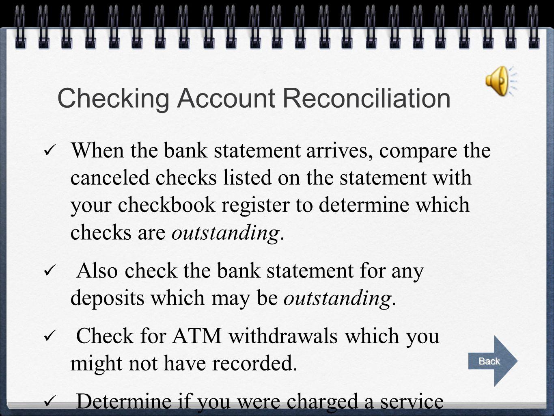 Checking Account Reconciliation