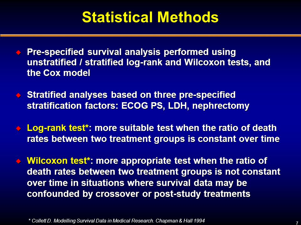 Statistical Methods Pre-specified survival analysis performed using unstratified / stratified log-rank and Wilcoxon tests, and the Cox model.