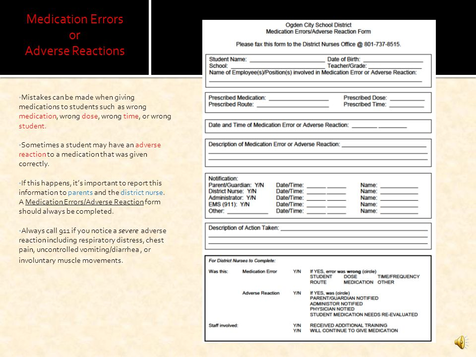 Medication Errors or Adverse Reactions