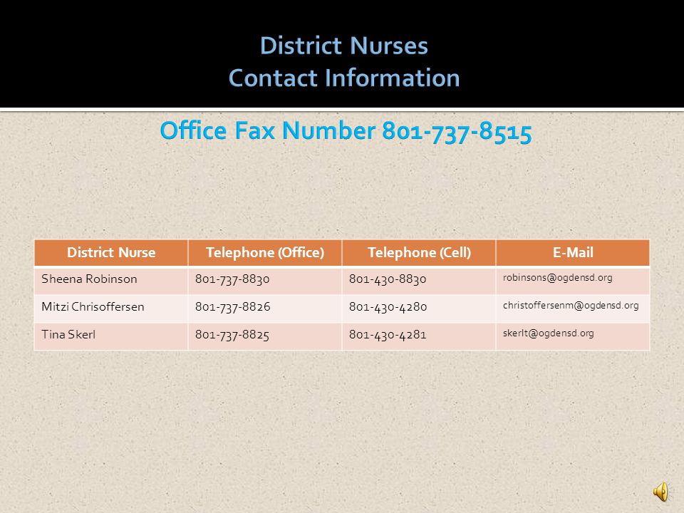 District Nurses Contact Information Office Fax Number 801-737-8515 District Nurse. Telephone (Office)