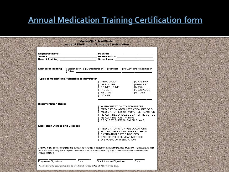 Annual Medication Training Certification form