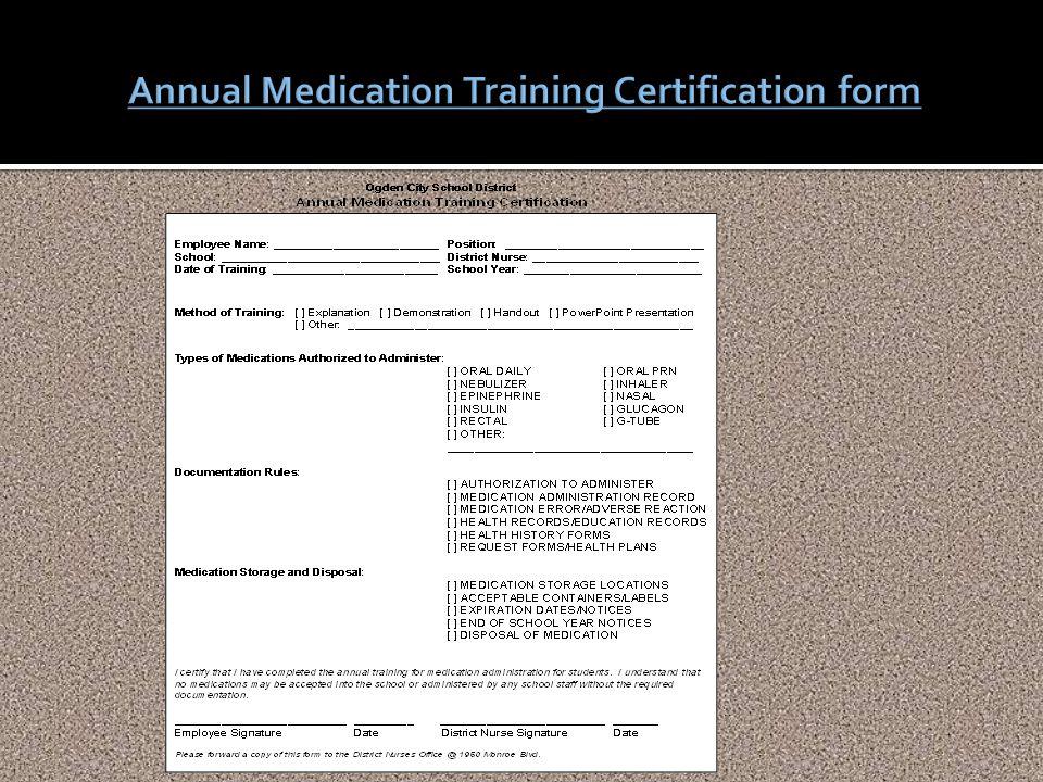 Annual Medication Training Certification form