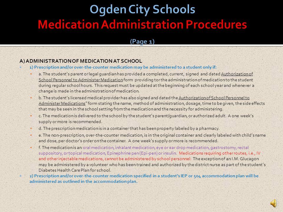 Ogden City Schools Medication Administration Procedures (Page 1)