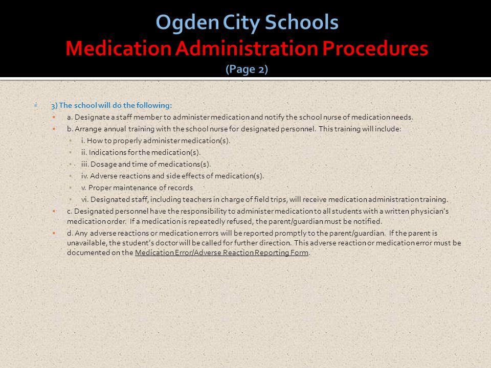 Ogden City Schools Medication Administration Procedures (Page 2)