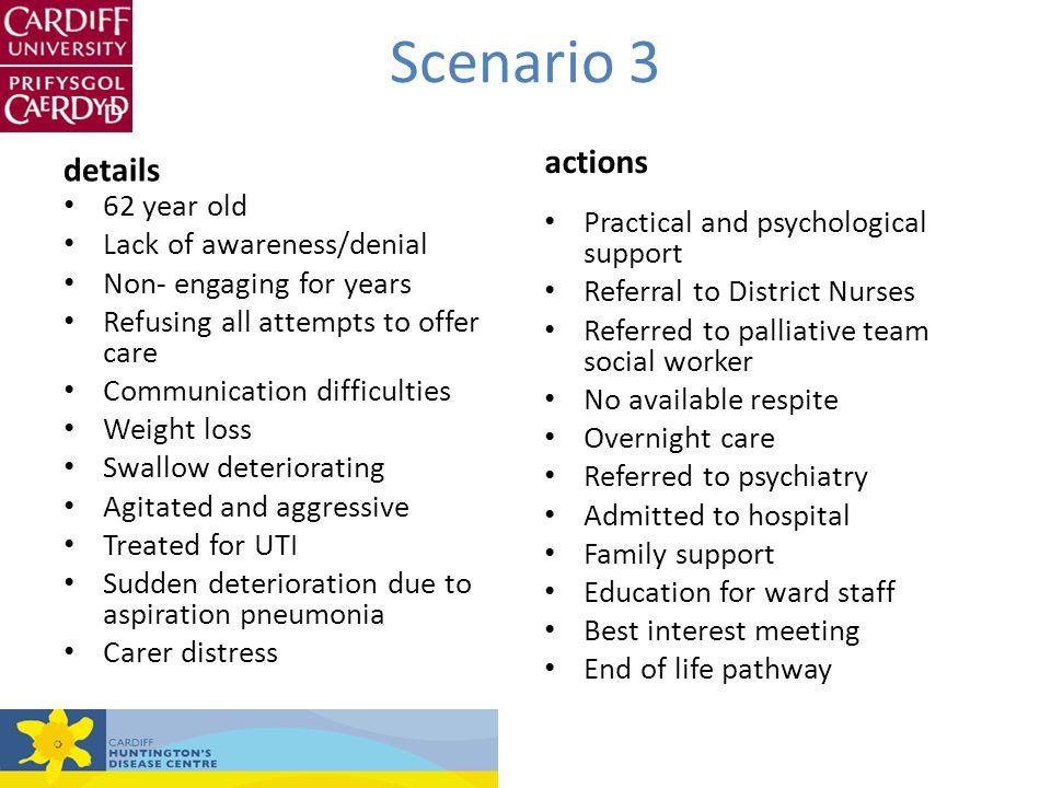 Scenario 3 actions details 62 year old Lack of awareness/denial