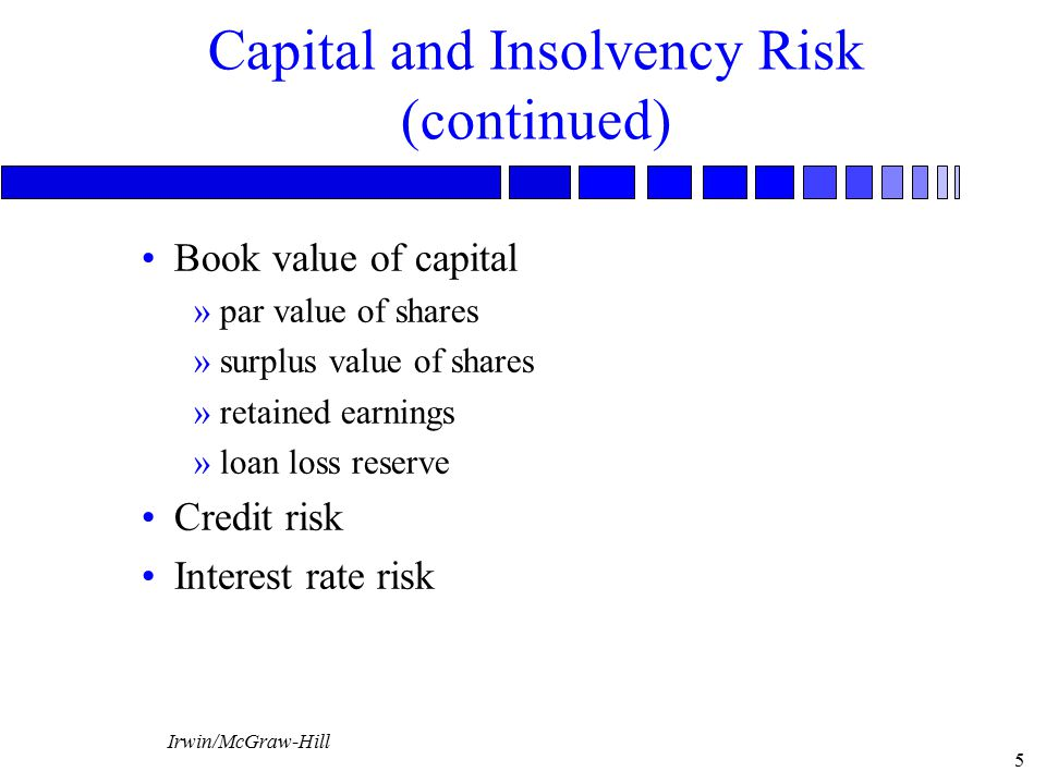 Capital and Insolvency Risk (continued)