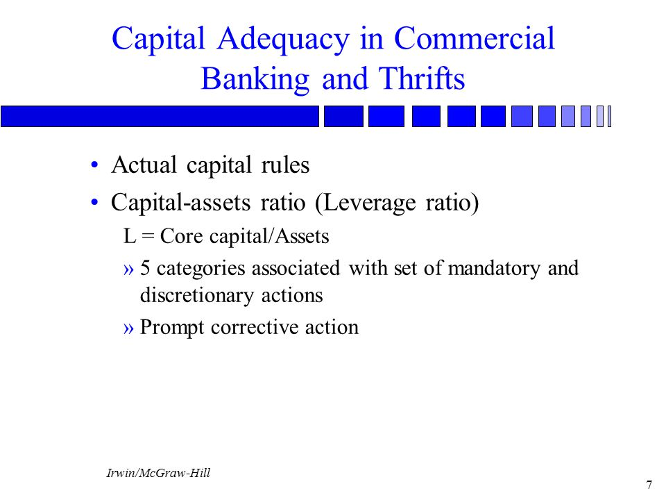 Capital Adequacy in Commercial Banking and Thrifts