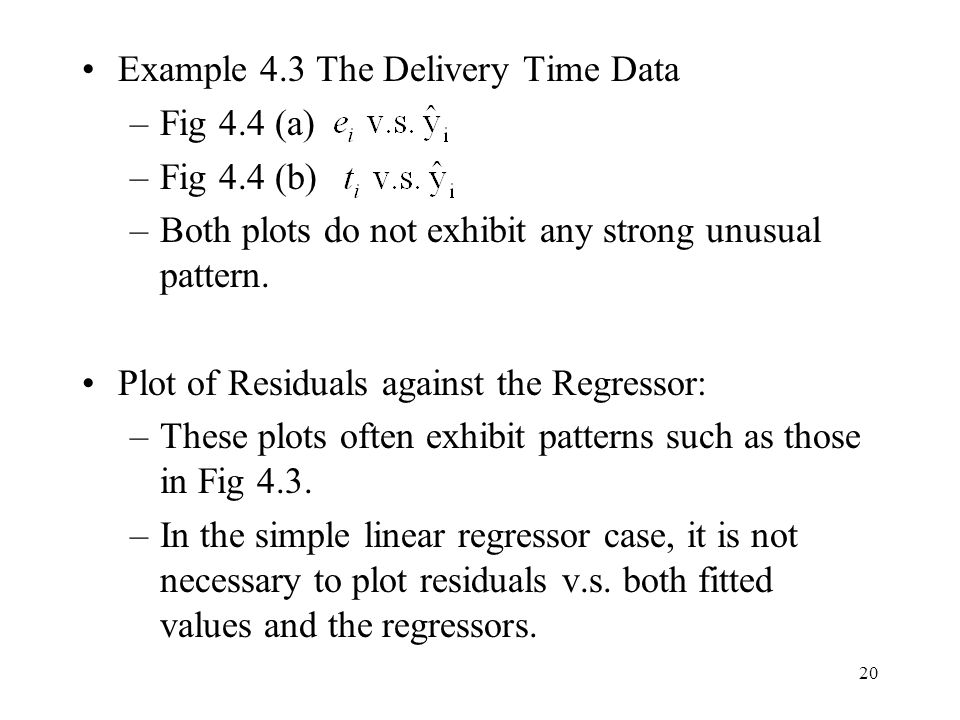 Example 4.3 The Delivery Time Data