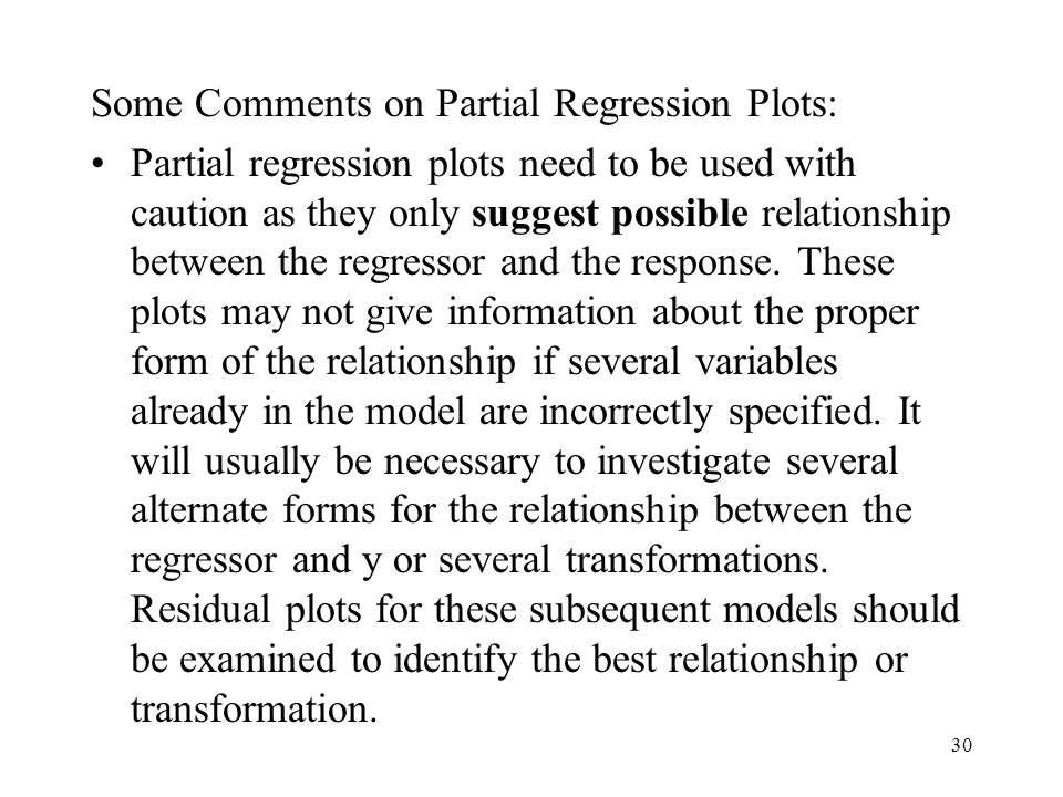 Some Comments on Partial Regression Plots: