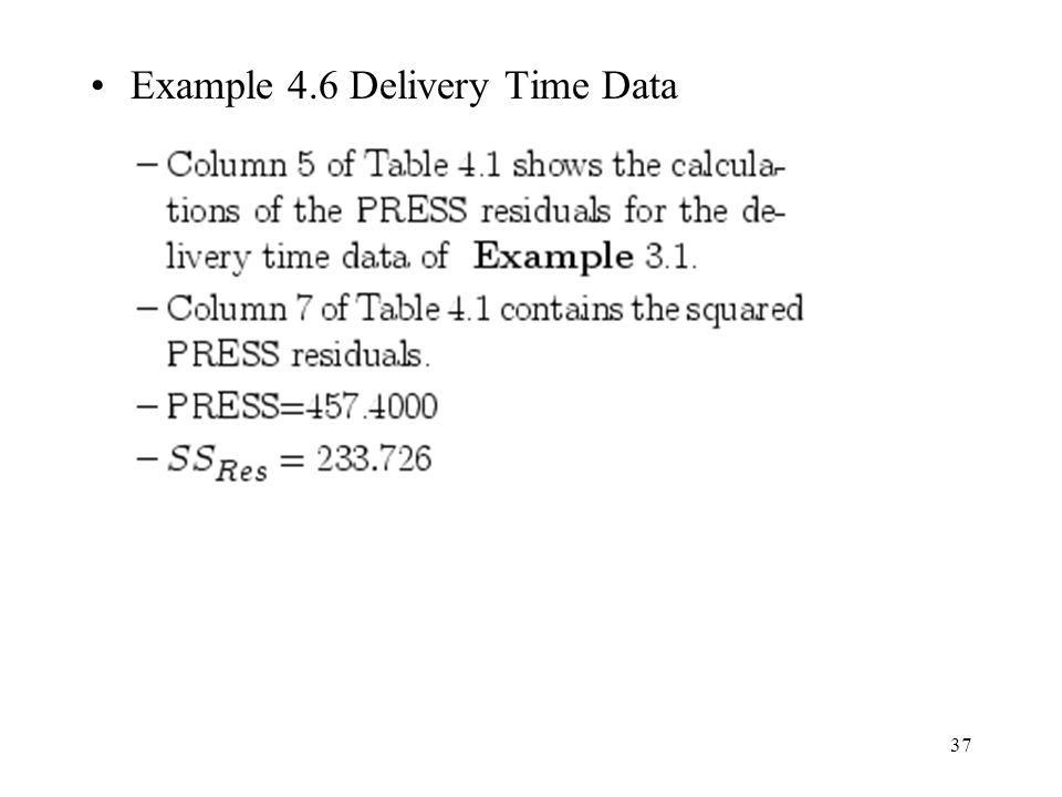 Example 4.6 Delivery Time Data