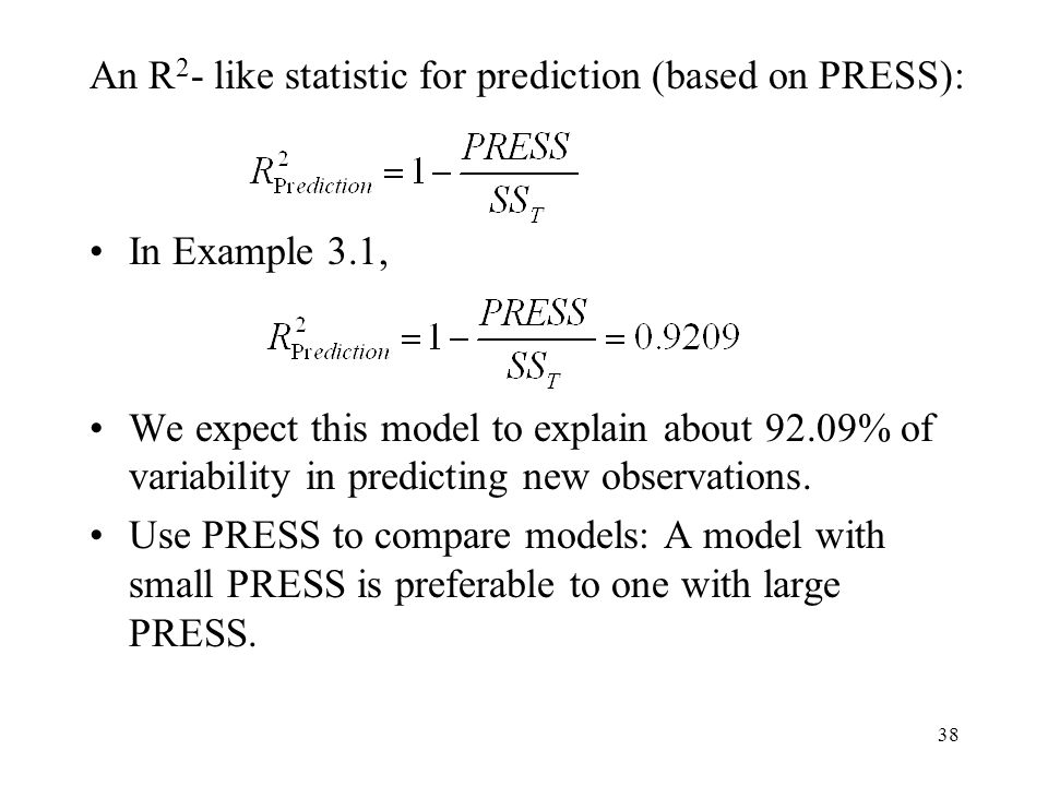 An R2- like statistic for prediction (based on PRESS):