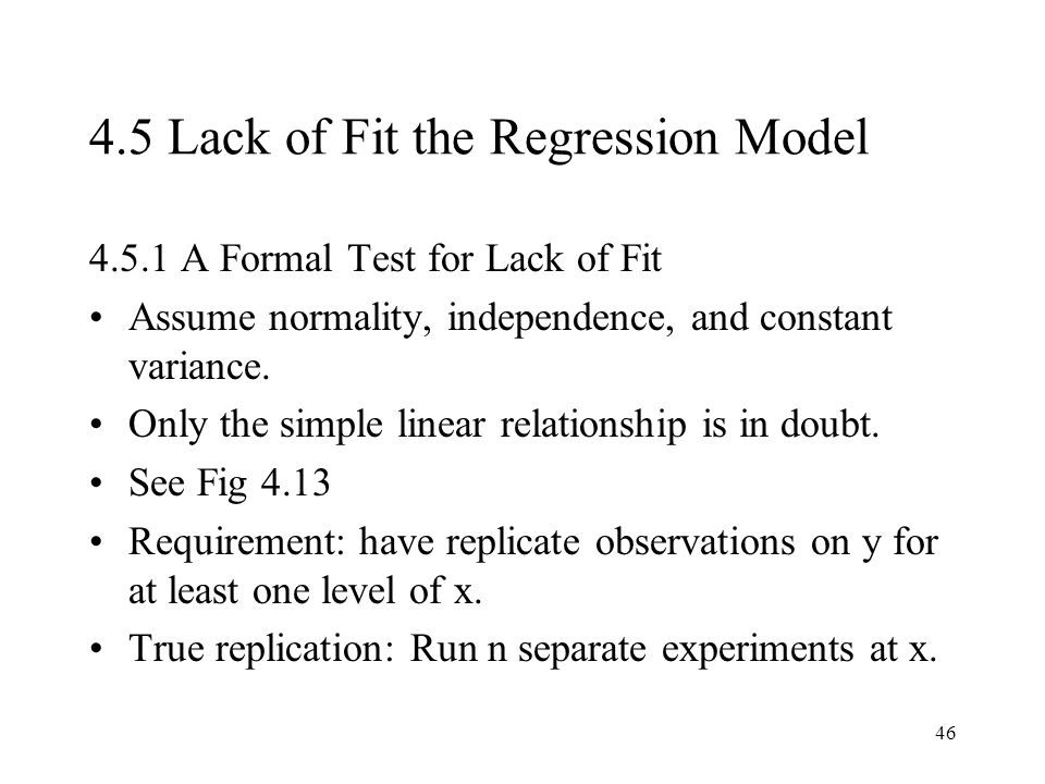 4.5 Lack of Fit the Regression Model