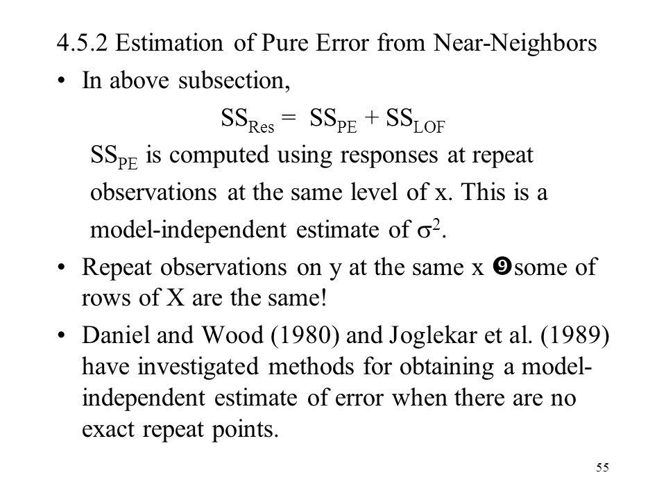 4.5.2 Estimation of Pure Error from Near-Neighbors