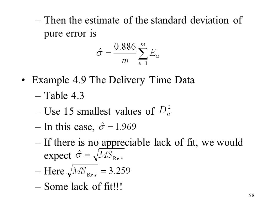 Then the estimate of the standard deviation of pure error is