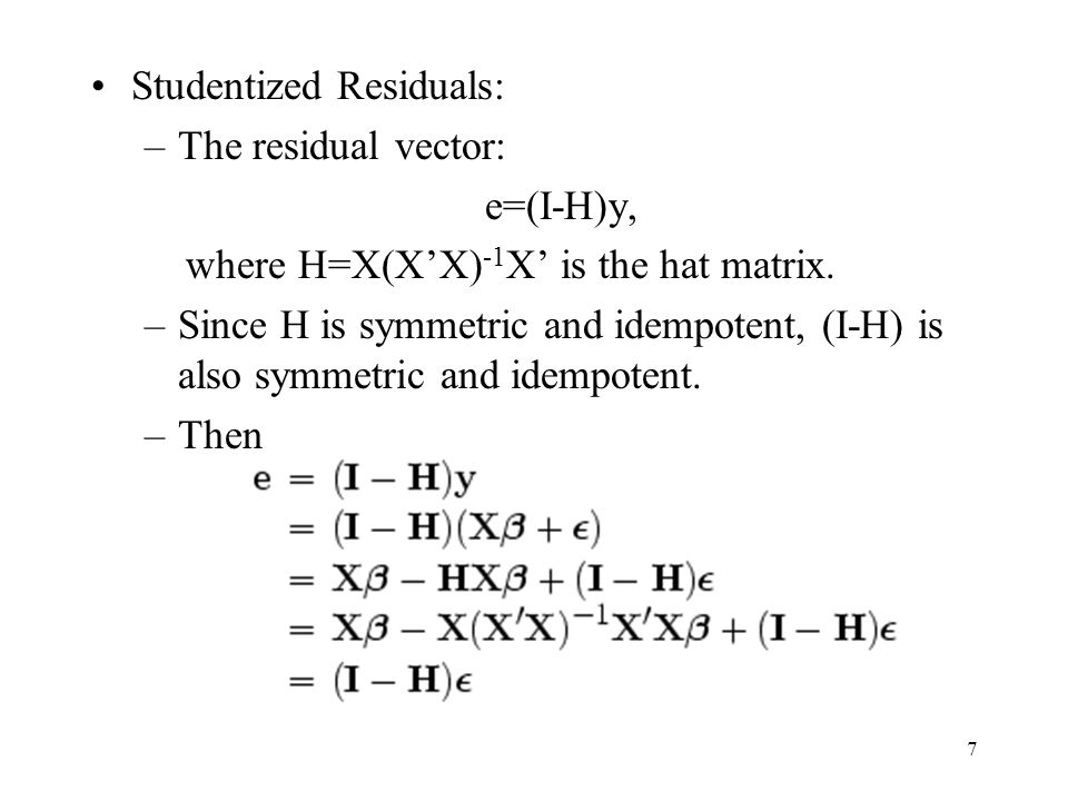 Studentized Residuals: