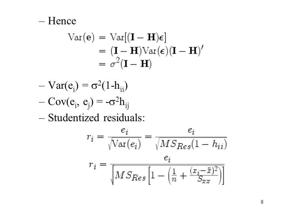 Hence Var(ei) = 2(1-hii) Cov(ei, ej) = -2hij Studentized residuals: