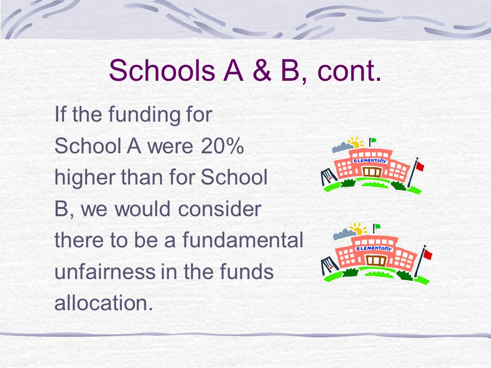 Schools A & B, cont. If the funding for School A were 20%