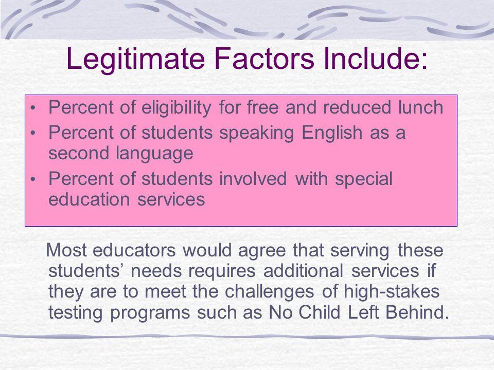 Legitimate Factors Include:
