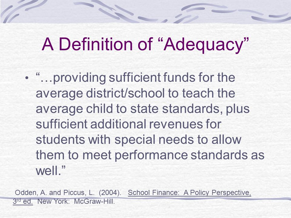 A Definition of Adequacy