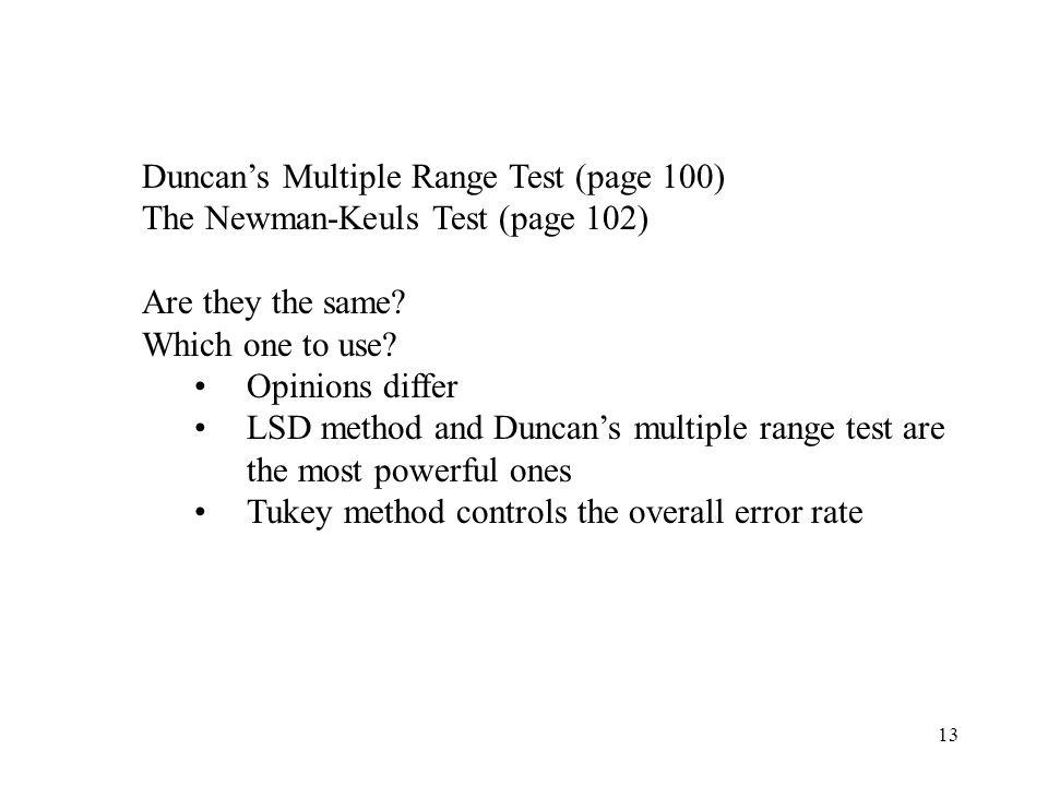 Duncan's Multiple Range Test (page 100)