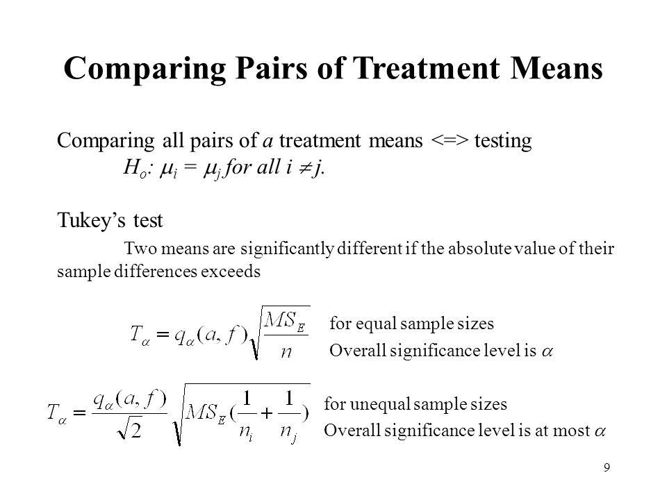 Comparing Pairs of Treatment Means