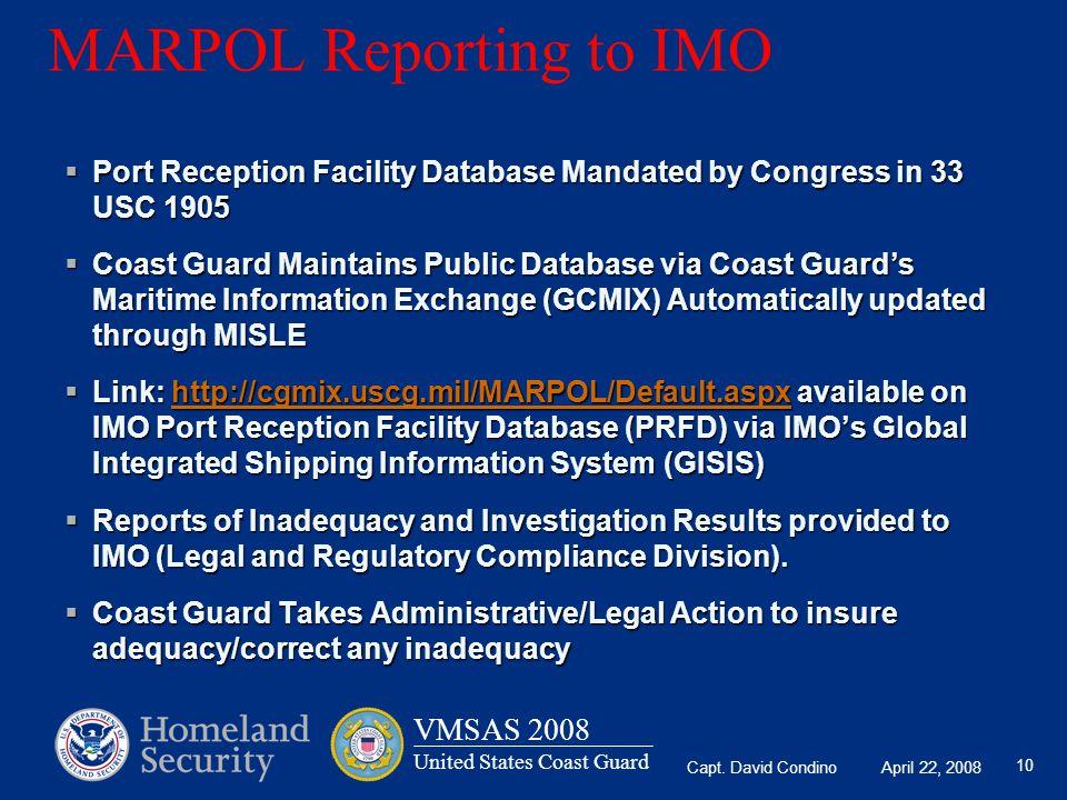 MARPOL Reporting to IMO