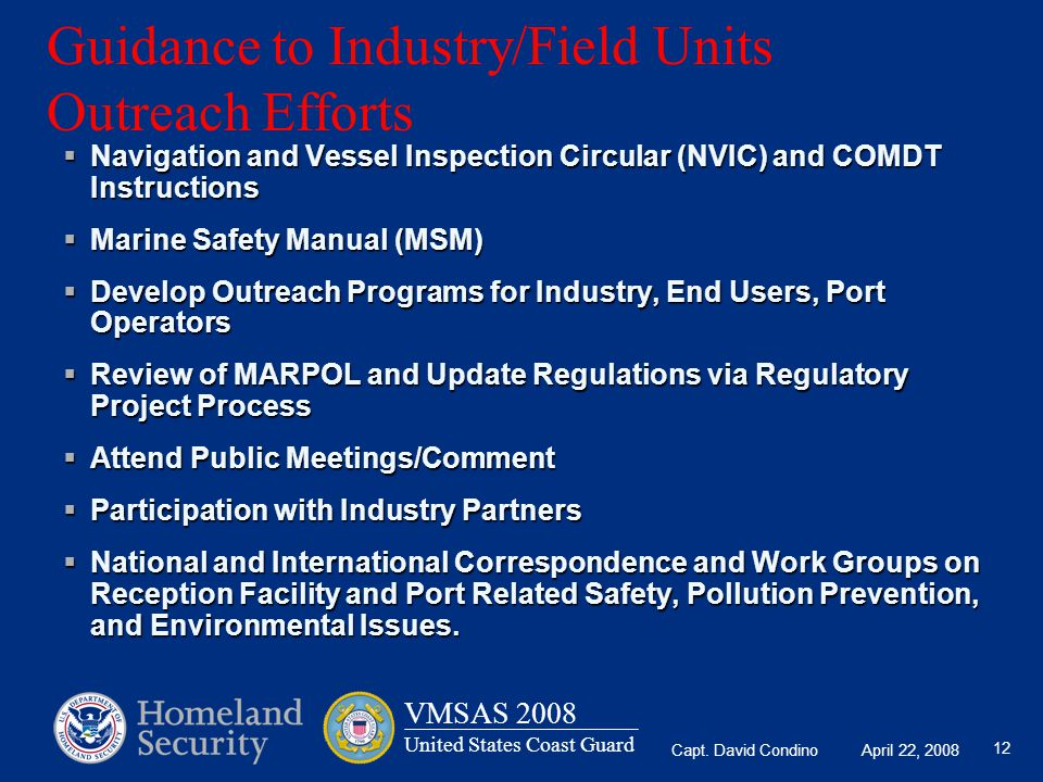 Guidance to Industry/Field Units Outreach Efforts