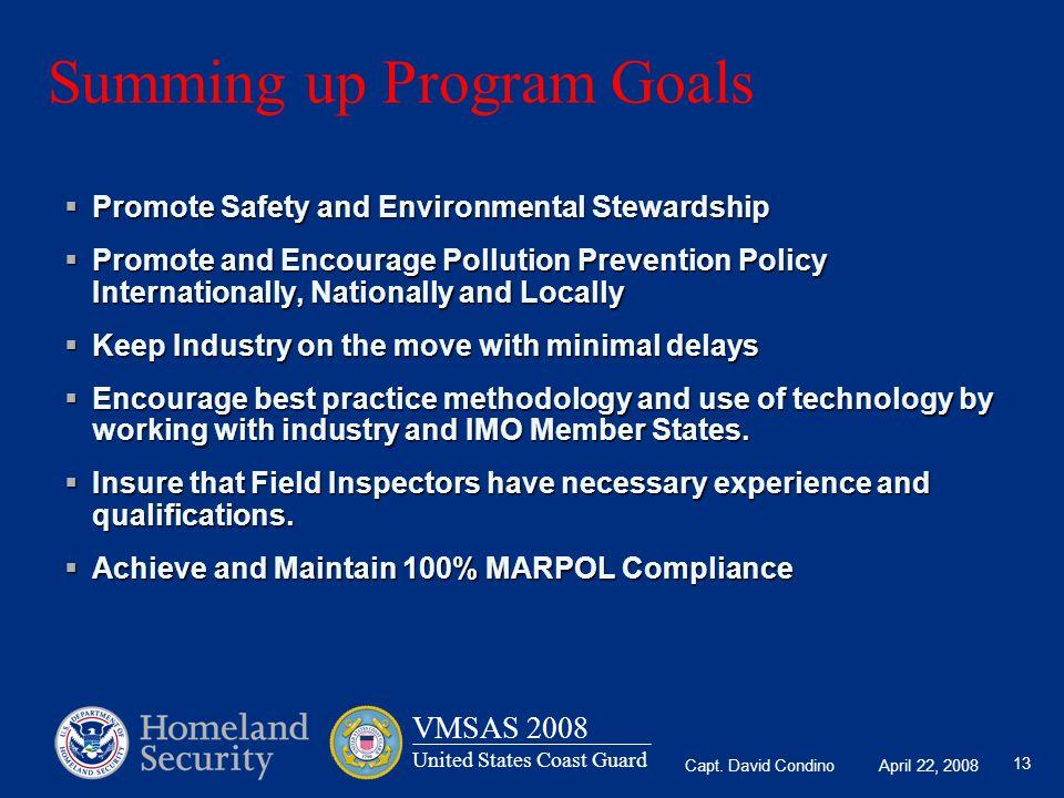 Summing up Program Goals