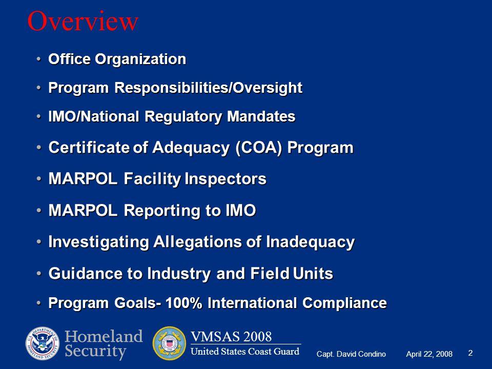 Overview Certificate of Adequacy (COA) Program