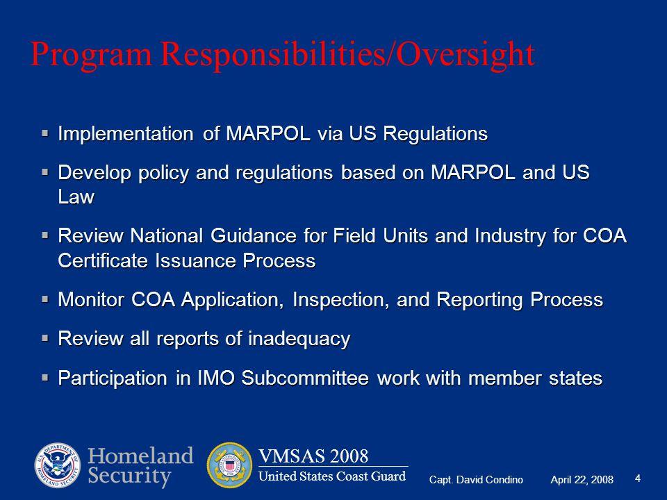 Program Responsibilities/Oversight