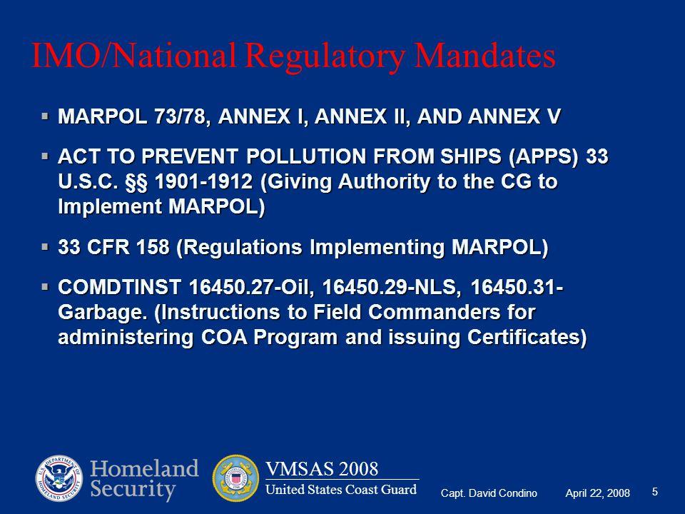 IMO/National Regulatory Mandates