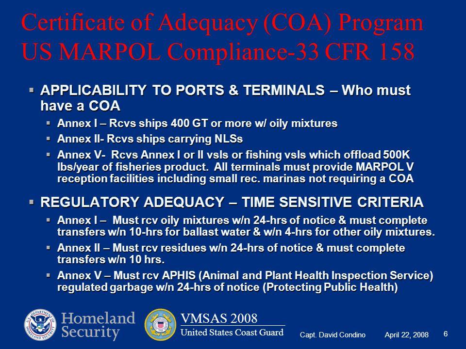 Certificate of Adequacy (COA) Program US MARPOL Compliance-33 CFR 158