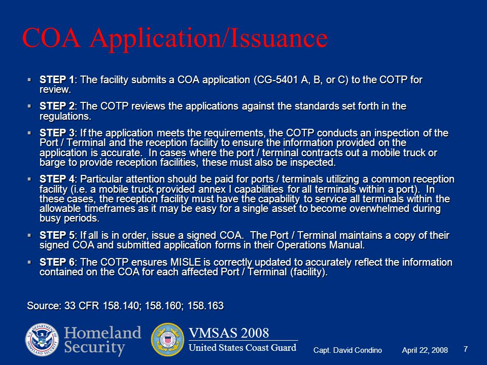 COA Application/Issuance