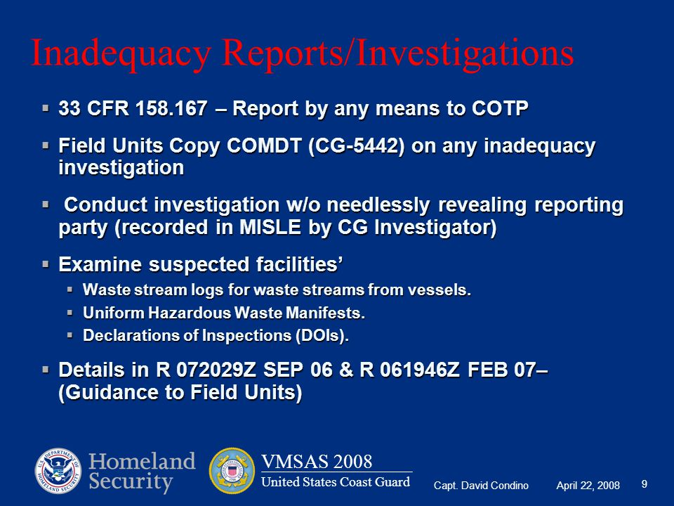 Inadequacy Reports/Investigations